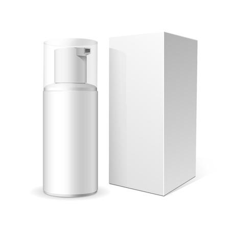Maquillage. Tube de crème ou de mousse dans le produit plastique. Container, produit et emballage. Fond blanc.