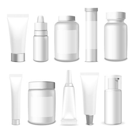 現実的なチューブ、jar ファイルおよびパッケージ。白化粧品、白い背景で隔離の薬を梱包します。チューブのクリーム、薬、化学薬品、ゲル、軟膏