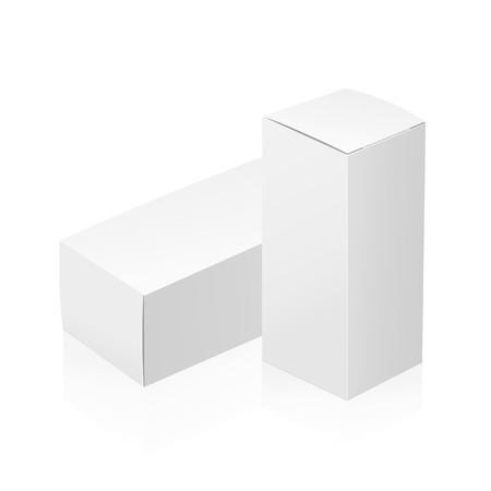 rotations: Realistic white 3D boxes isolated on white background. Template vector illustration for your design. Illustration