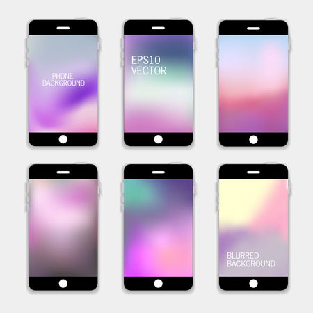 mobile phones: Collection of Technology Wallpaper Designs. Set of Mobile Phones Blurred Backgrounds.  Abstract Vector Illustrations. Illustration
