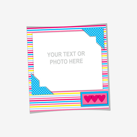 decorative frames: Design photo frame on nice background. Decorative template for baby, family or memories. Scrapbook concept, vector illustration. Birthday