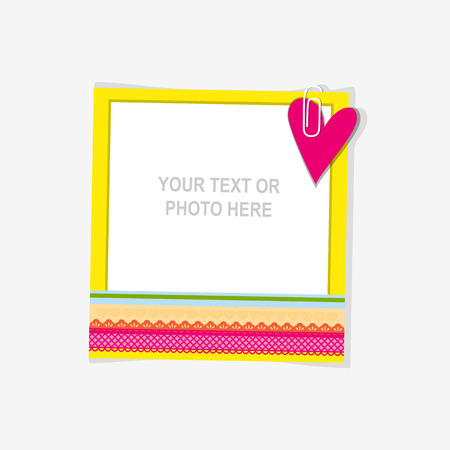 photo frames: Design photo frame on nice background. Decorative template for baby, family or memories. Scrapbook concept, vector illustration. Birthday