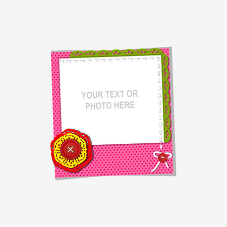 marco cumpleaños: Diseño del marco de la foto en fondo agradable. Plantilla decorativo para el bebé, familia o recuerdos. concepto de álbum de recortes, ilustración vectorial. Cumpleaños