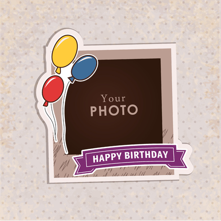 scrapbook frames: Design photo frame on nice background. Decorative template for baby, family or memories. Scrapbook concept, vector illustration. Birthday