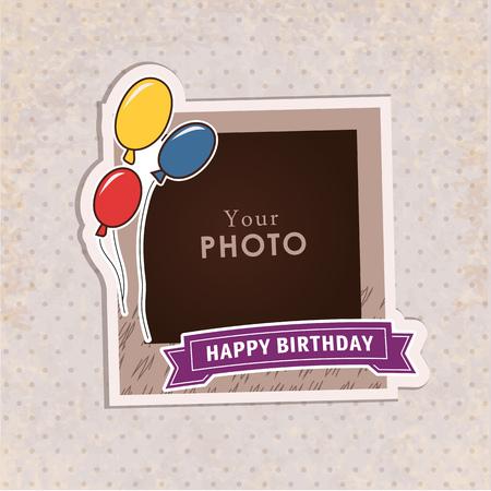 marcos decorativos: Diseño del marco de la foto en fondo agradable. Plantilla decorativo para el bebé, familia o recuerdos. concepto de álbum de recortes, ilustración vectorial. Cumpleaños