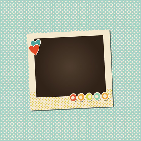 design frame: Design photo frame on nice background. Decorative template for baby, family or memories. Scrapbook concept, vector illustration. Birthday