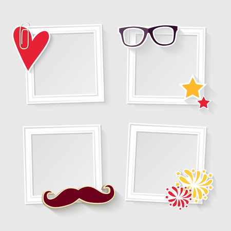 family picture: Realistic design photo frames on white background. Decorative template for baby, family or memories. Scrapbook concept, vector illustration.