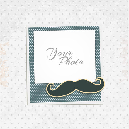 concept design: Design photo frame on nice background. Decorative template for baby, family or memories. Scrapbook concept, vector illustration. Birthday