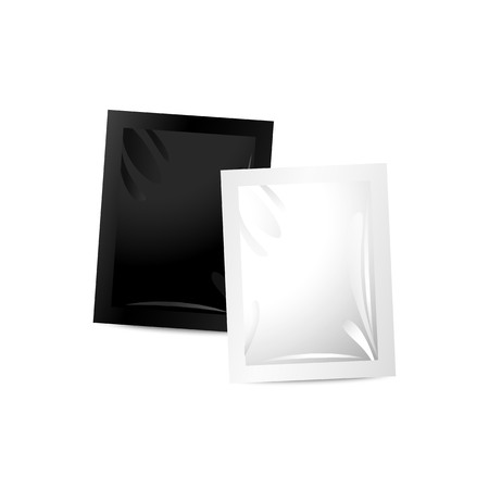 preservative: Paper packing of free sample cosmetics.  Sachet for condoms, shampoo, gel, powder and etc. Template for your design and branding.