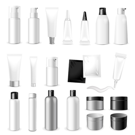 product box: Make up. Tube of cream or gel white plastic product. Container, product and packaging. White background.