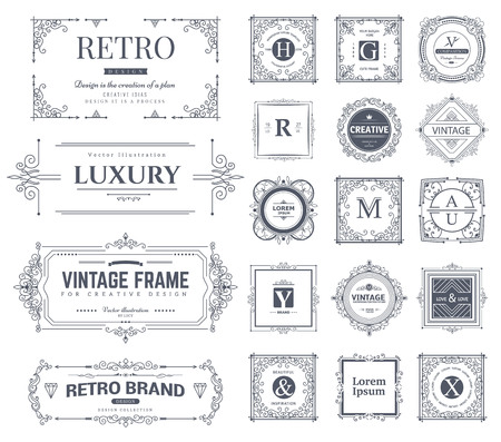 Collection of vintage flourishes calligraphic ornaments and frames. Retro style. Vector template 免版税图像 - 51994304