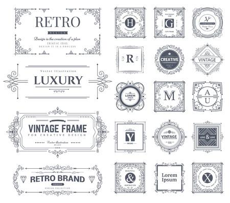 decoratif: Collection vintage fleurit ornements et cadres calligraphiques. Style rétro. modèle de Vector