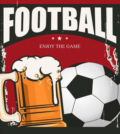 sports bar: Retro banner. A cup of beer and ball. Sports bar menu design template Illustration
