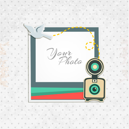 photo frame: Design photo frame on nice background. Decorative template for baby, family or memories. Scrapbook concept, vector illustration. Birthday