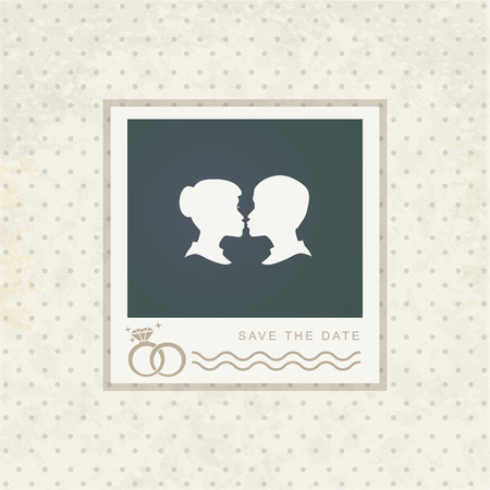 wedding frame: Vector template vintage photo frame for your photo. Insert your picture from wedding. Scrapbook concept.