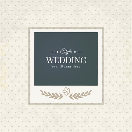 wedding frame: template vintage photo frame for your photo. Insert your picture from wedding. Scrapbook concept.