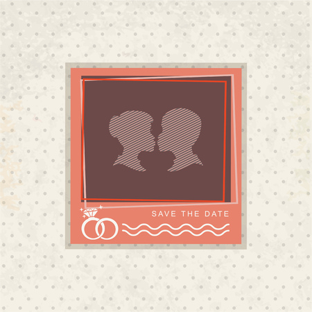wedding photo frame: template vintage photo frame for your photo. Insert your picture from wedding. Scrapbook concept.