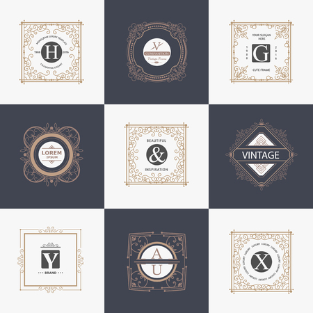 graceful: Monogram luxury icon template with flourishes calligraphic ornament elements. Elegant design for cafe, restaurant, heraldic, jewelry, fashion Illustration