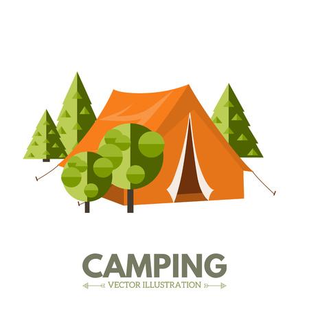 campamento: Ilustración plana de camping. Actividades al aire libre. Descanso