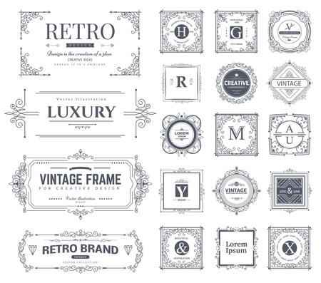 Collection de vintage fleurit des ornements et des cadres calligraphiques. Style rétro des éléments de conception, des décorations pour carte postale, des bannières. Vecteurs