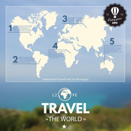 Mapa del Mundo y gráficos de la Información en desenfoque de fondo realista. Viajar