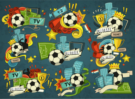 league: Football illustration. Set of sports elements for banner, brochure, brochures. Illustration composed of fan, ball, gate, football field.