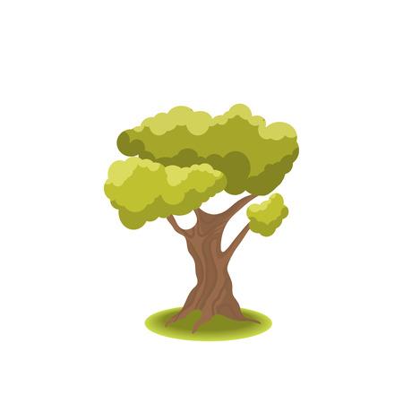 Gestileerde boom op een witte achtergrond. Aardillustratie. Zijaanzicht Stock Illustratie