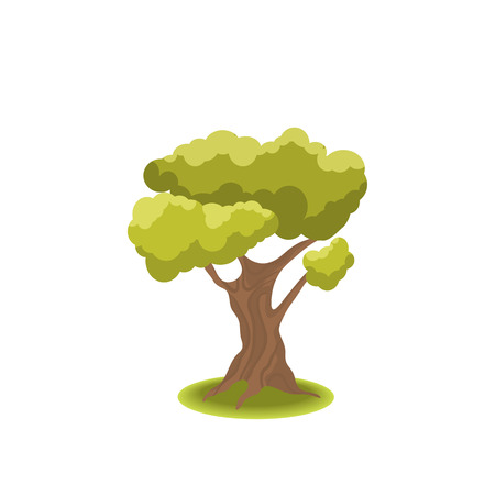 Stylized tree on white background. Nature illustration. Side view