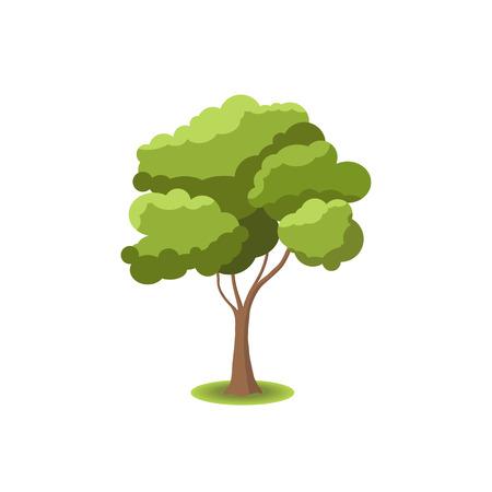 árbol estilizado en el fondo blanco. Ilustración de la naturaleza. Vista lateral