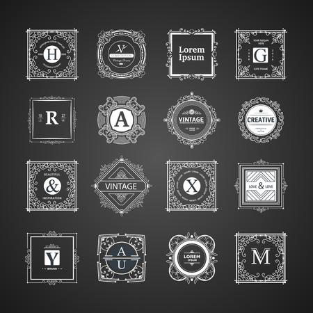 plantilla de lujo del monograma con los elementos del ornamento prospera caligráfico. diseño elegante para el café, restaurante, heráldico, joyería, moda Ilustración de vector