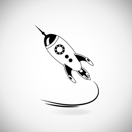 science icons: Rocket on white background. Launch icon. Rocket flies. Blast off rocket Illustration