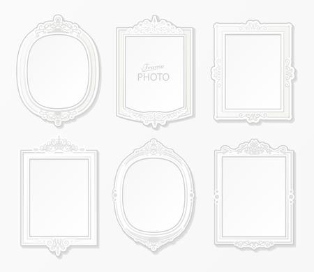 Moderne cadre photo réaliste sur fond blanc. Blanc cadre photo