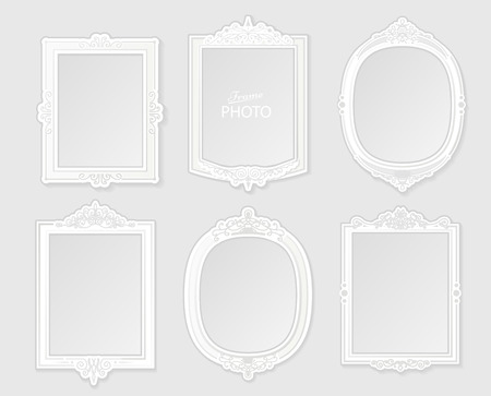 photo frame: Modern realistic photo frame on white background. White photo frame