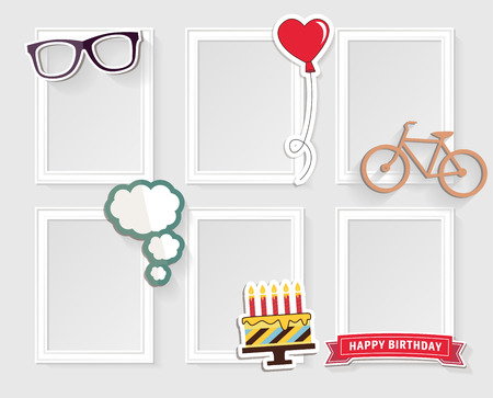 birthday present: Realistic design photo frames on white background. Decorative template for baby, family or memories. Scrapbook concept, illustration. Birthday