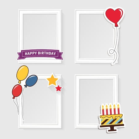 Realistic design photo frames on white background. Decorative template for baby, family or memories. Scrapbook concept, illustration. Birthday