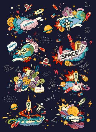 Cartoon illustration de l'espace. Lune, planète, fusée, la terre, le cosmonaute, comète, univers. Classification, voie lactée. Abstrait Vecteurs