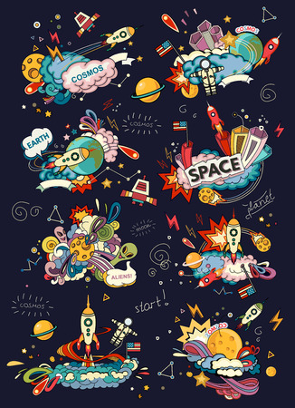 alien symbol: Cartoon illustration of space. Moon, planet, rocket, earth, cosmonaut, comet, universe. Classification, milky way.  Abstract