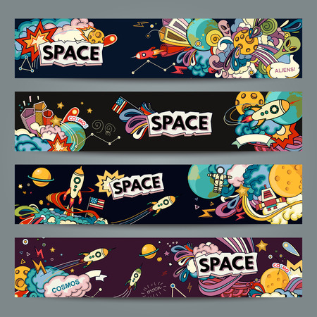 Cartoon illustration of space. Moon, planet, rocket, earth, cosmonaut, comet, universe. Classification, milky way.  Abstract