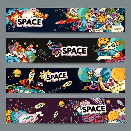 sun set: Cartoon illustration of space. Moon, planet, rocket, earth, cosmonaut, comet, universe. Classification, milky way.  Abstract