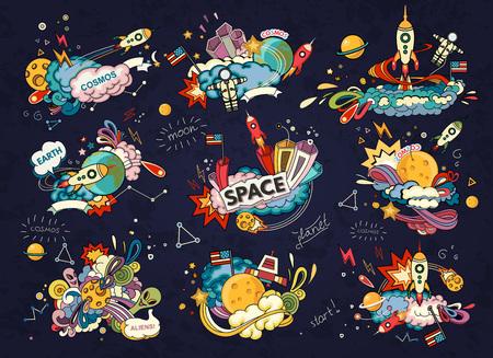 Cartoon illustratie van de ruimte. Maan, planeet, raket, aarde, kosmonaut, komeet, universum. Indeling, melkachtige manier. Abstract