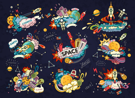 moon and stars: Cartoon illustration of space. Moon, planet, rocket, earth, cosmonaut, comet, universe. Classification, milky way.  Abstract