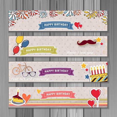 horizontal: Banner happy birthday illustration. You can use it for events, invitation, banner, brochure, brochures. Illustration composed of cake,  balloons, ribbons, fireworks, heart. Cartoon style