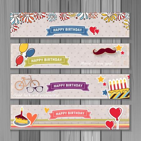 Ilustración de la bandera feliz cumpleaños. Se puede utilizar para eventos, invitación, bandera, folleto, folletos. Ilustración compone de torta, globos, cintas, fuegos artificiales, corazón. estilo de dibujos animados Ilustración de vector