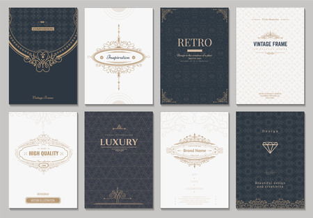 retro fashion: Monogram creative cards template with flourishes ornament elements. Elegant design for cafe, restaurant, heraldic, jewelry, fashion