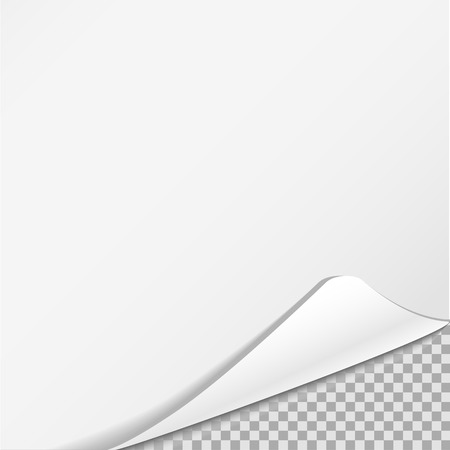 Sheet of paper on transparent background. White realistic sheet of paper illustration. You can use is for text, title, nice, advertisement, label. A sheet of paper with a wrapped area Illustration