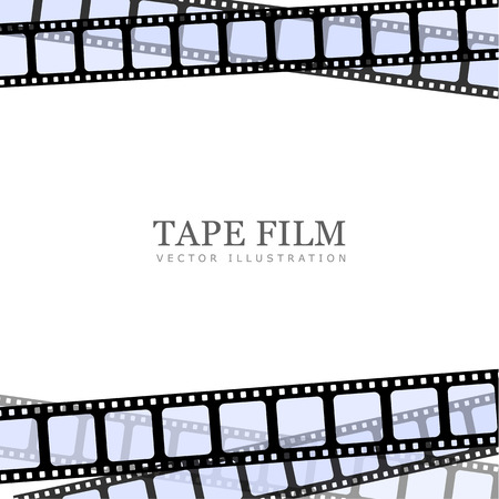 白い背景のフィルムのストリップのリアルなイラスト。テンプレート フィルム ロール