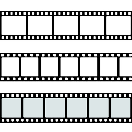 film: realistic illustration of film strip on white background. Template film roll