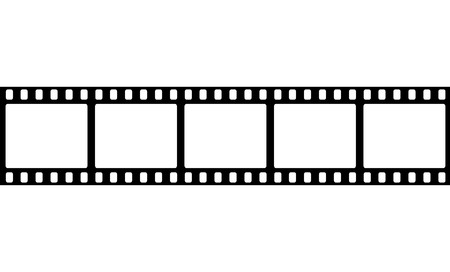 realistic illustration of film strip on white background. Template film roll