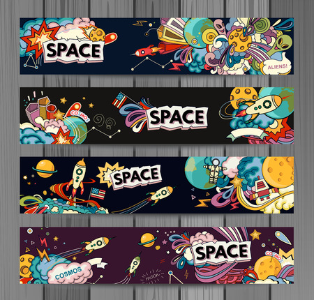 fantasy alien: Cartoon illustration of space. Moon, planet, rocket, earth, cosmonaut, comet, universe. Classification, milky way.  Abstract