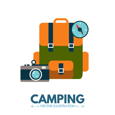 bagagli: Backpack flat style. Travel and adventure. Camping vector illustration Vettoriali
